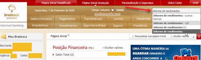 Informe de rendimentos do Bradesco pelo internet banking