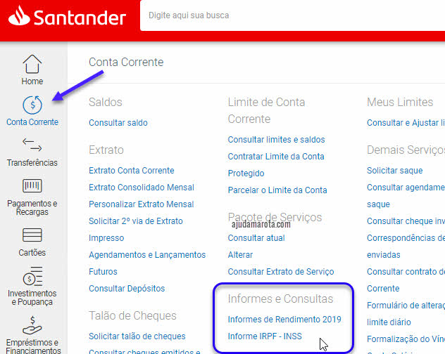 Como tirar o informe de rendimentos do Santander pela internet e pelo aplicativo
