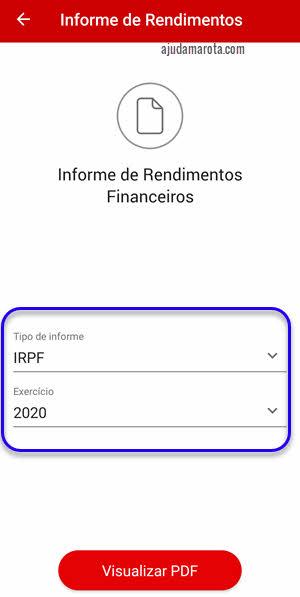 Informe de rendimentos financeiros IRPF INSS Santander app