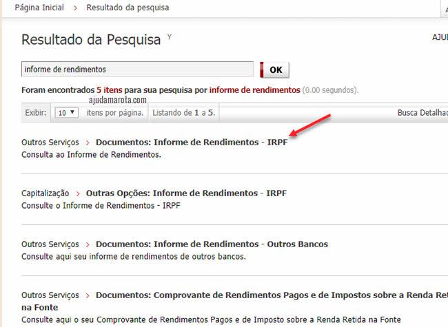 Outros serviços, documentos, informe de rendimentos IRPF Bradesco