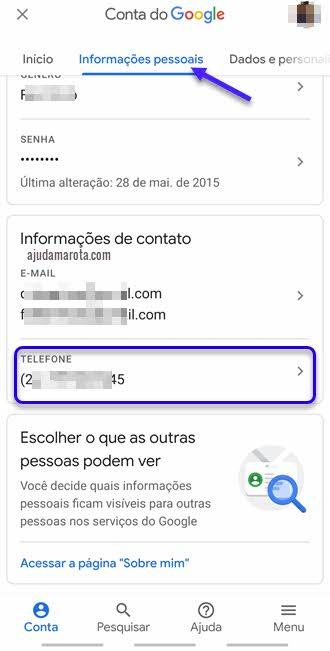 Como alterar número de telefone do Gmail pelo celular