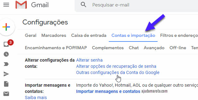Contas e importação Gmail, outras configurações Google
