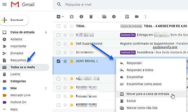 Como desarquivar mensagens no Gmail