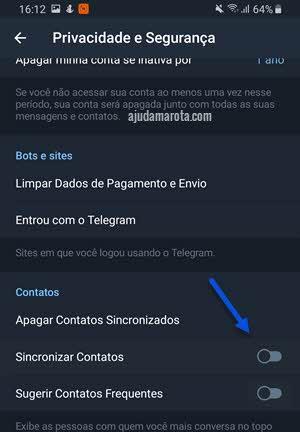 Como não mostrar contatos do Telegram nos contatos do celular Android