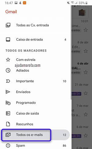 menu lateral todos emails app Gmail