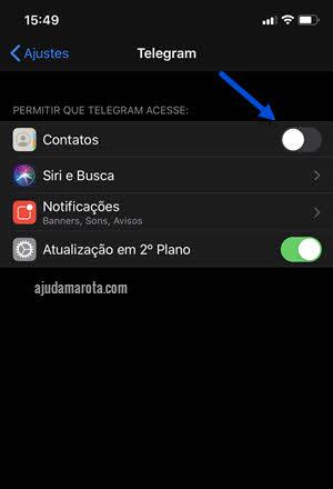 Não mostrar contatos do Telegram nos contatos do iPhone, desativar sincronizção
