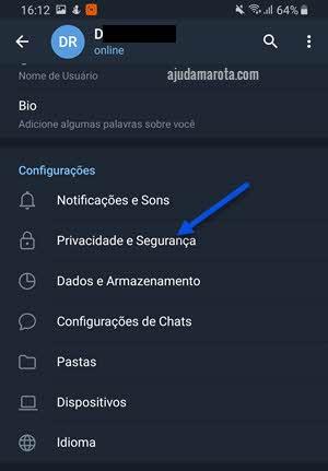 Privacidade e segurança app Telegram Android