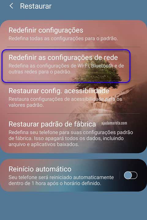 como redefinir as configurações de rede do Android