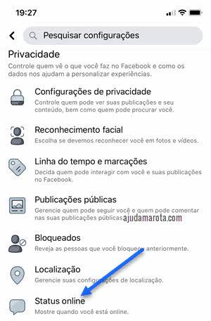 configurações de privacidade Status Online Facebook app celular