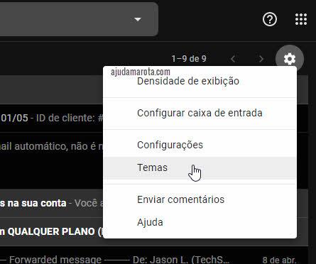engrenagem configurações temas do Gmail