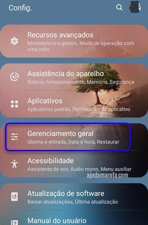 gerenciamento geral configurações Android