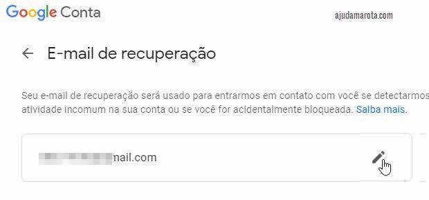 Alterar email de recuperação no Gmail Google