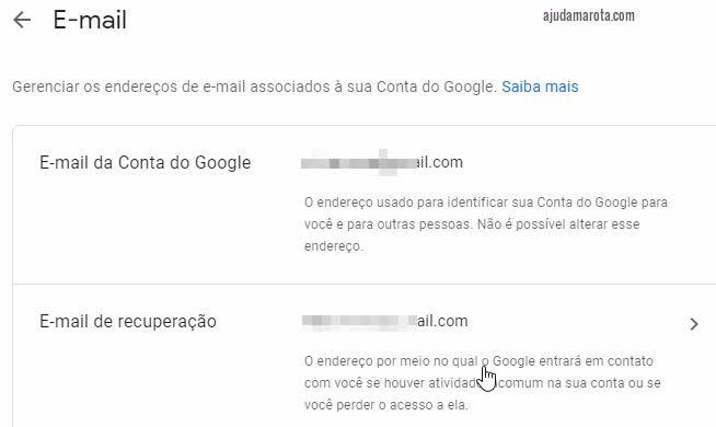 Como mudar o email de recuperação do Gmail