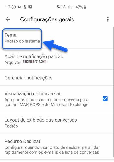 configurações gerais Tema app Gmail