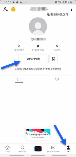 editar perfil no app TikTok