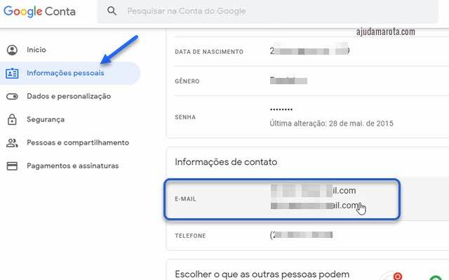 Informações de contato na conta Google