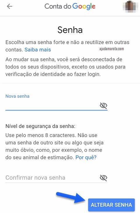 Como mudar senha do Gmail no Android