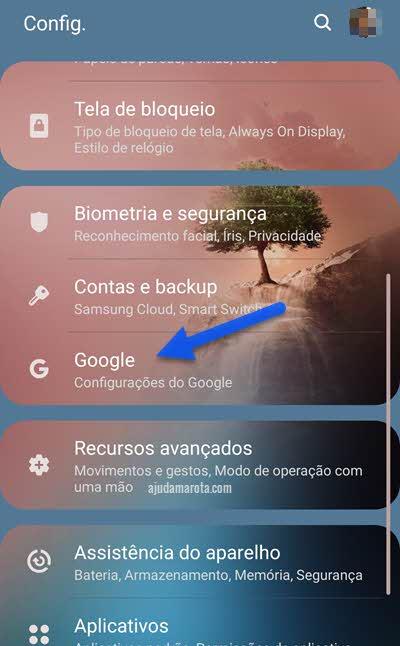Configurações do Google no celular Android