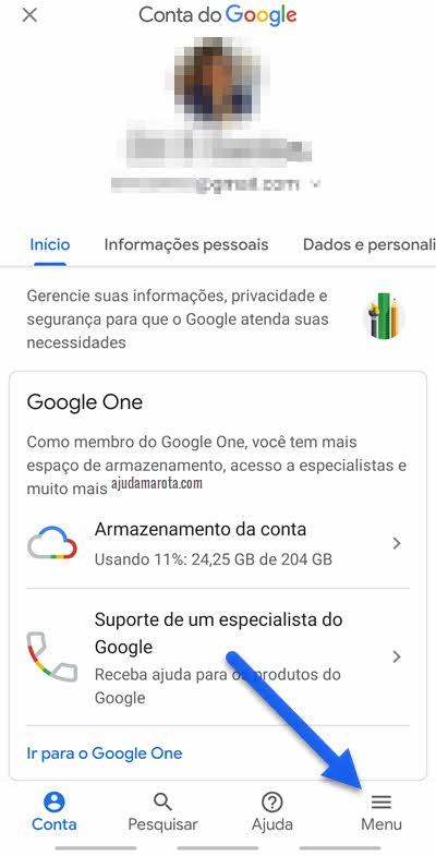 ícone três traços configurações Google segurança