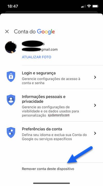 Remover conta Google deste dispositivo iPhone