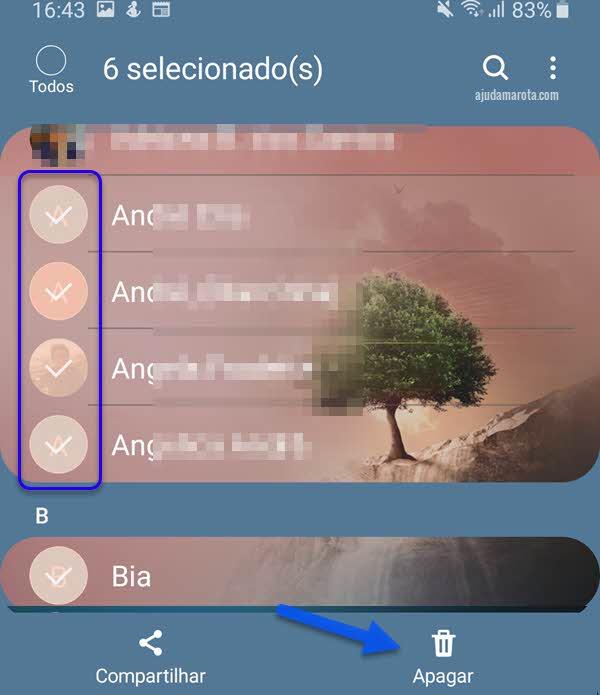 apagar vários contatos de uma vez no Android app Contatos