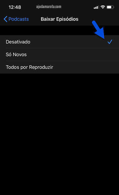 baixar episódios desativado iPhone