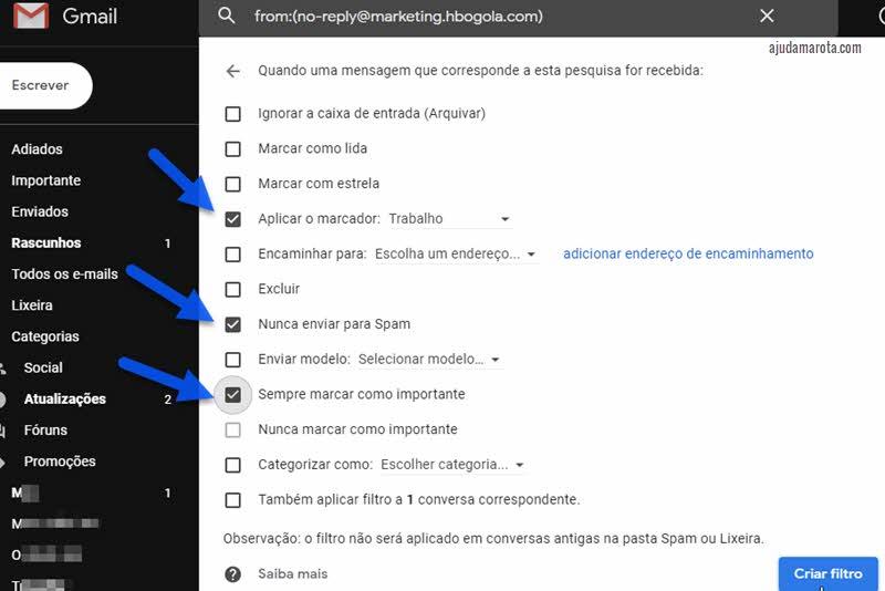 Como não deixar email ir para o spam no Gmail criando filtro