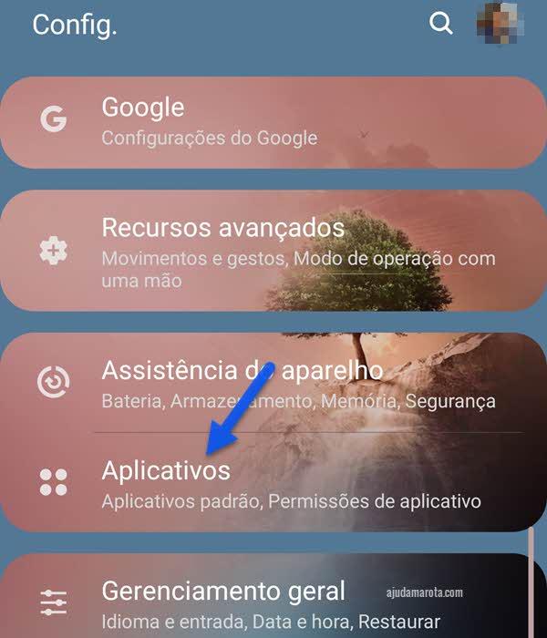 configurações de aplicativos no Android