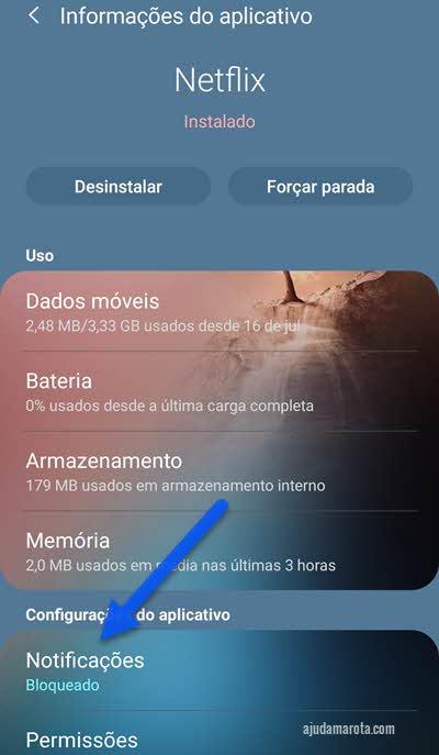 configurações do aplicativo notificações Android