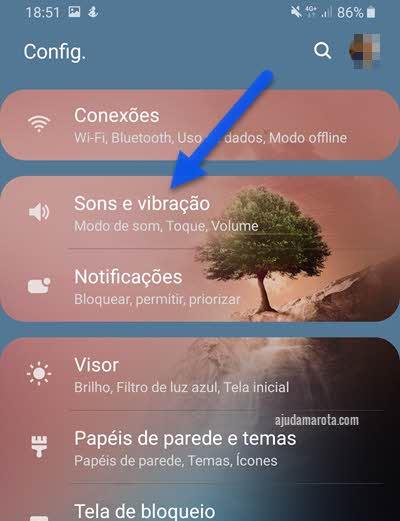 configurações Sons e Vibração Android