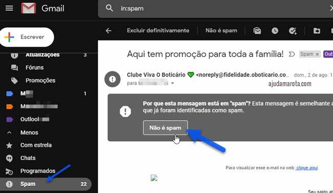 Desmarcar email do spam do Gmail não é spam