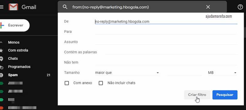 parametros para filtrar mensagens do Gmail