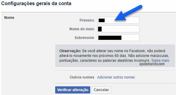 Alterar nome no Facebook, primeiro, nome do meio e sobrenome