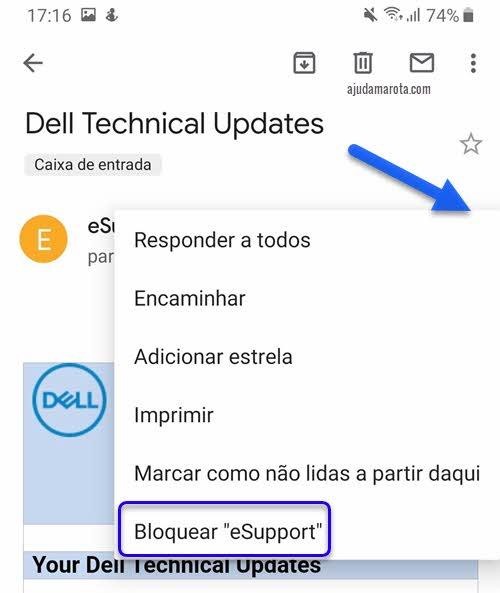 Bloquear email no Gmail do celular