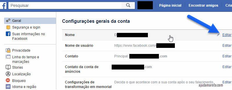 Como mudar o nome no Facebook pelo PC