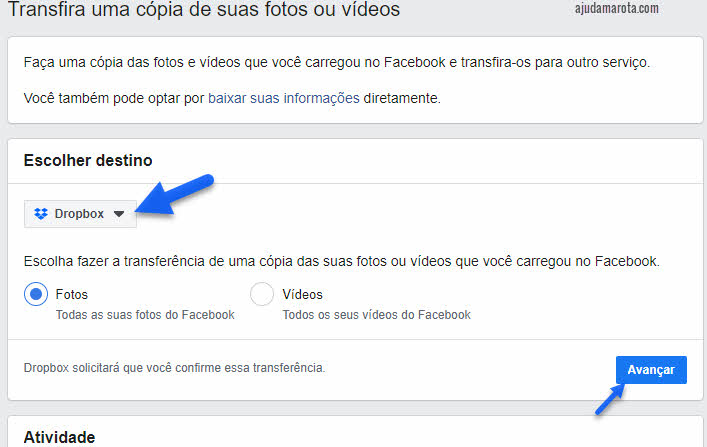 Como transferir fotos do Facebook para Dropbox