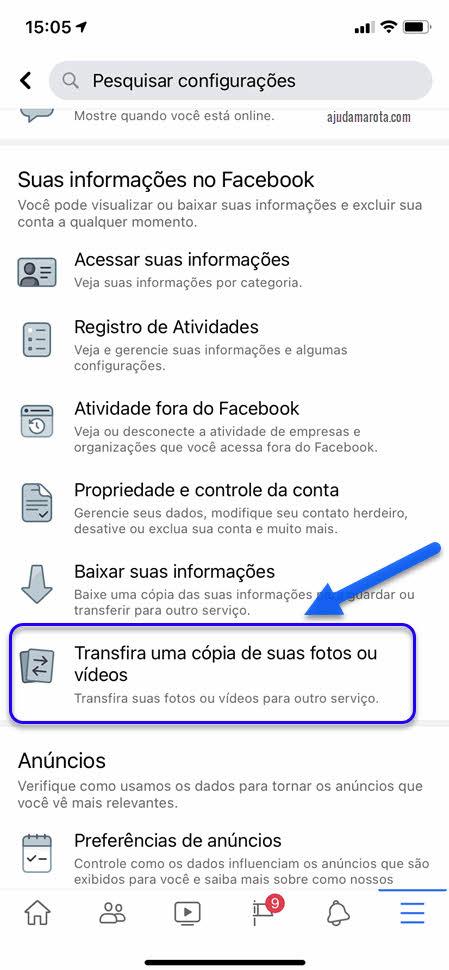 Transferir fotos ou vídeos do Facebook para outro serviço app Facebook celular