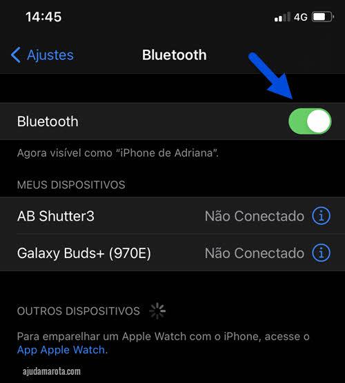 Ativar Bluetooth nas configurações celular