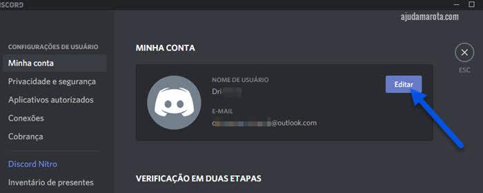 Como trocar nome de usuário no Discord