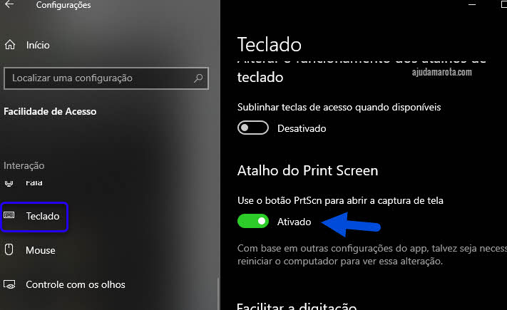 Como usar Print Screen para abrir captura de tela no Windows