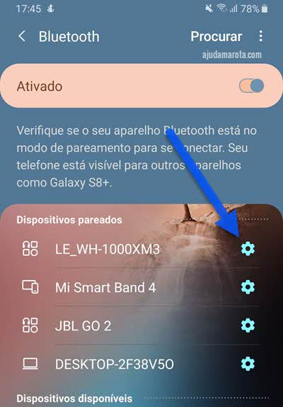 Configurações Bluetooth úcone de engrenagem dispositivos pareados