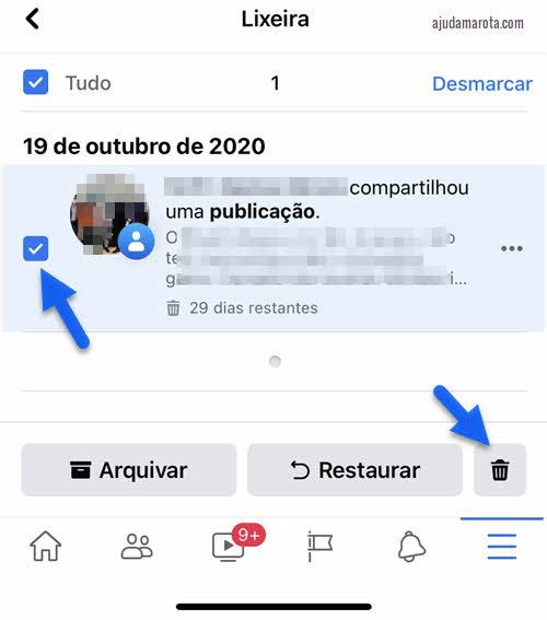 Excluir várias publicações do Facebook de uma vez pelo aplicativo