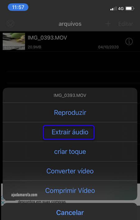 Extrair áudio de vídeo Media Converter iPhone