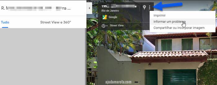 Informar problema no Google Street View desfocar propriedade, carro, rosto
