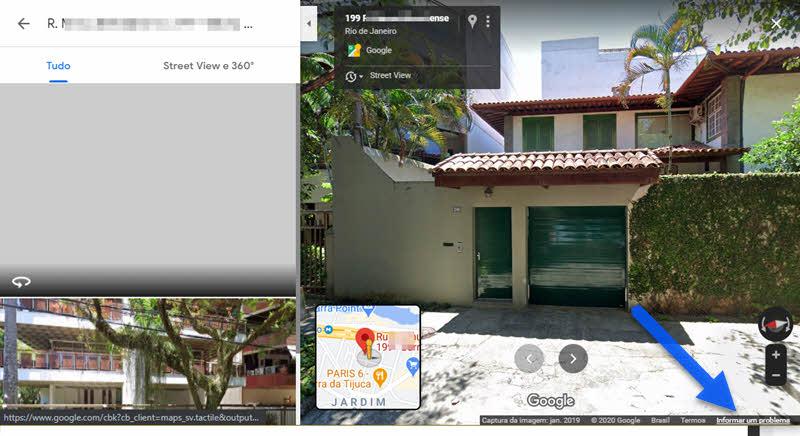Informar um problema no Google Maps para borrar residência, rosto, veiculo