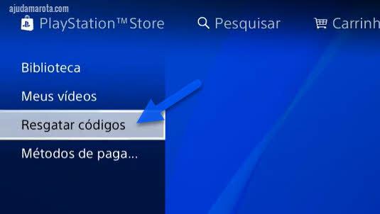 Resgatar códigos na Playstation Store PS4
