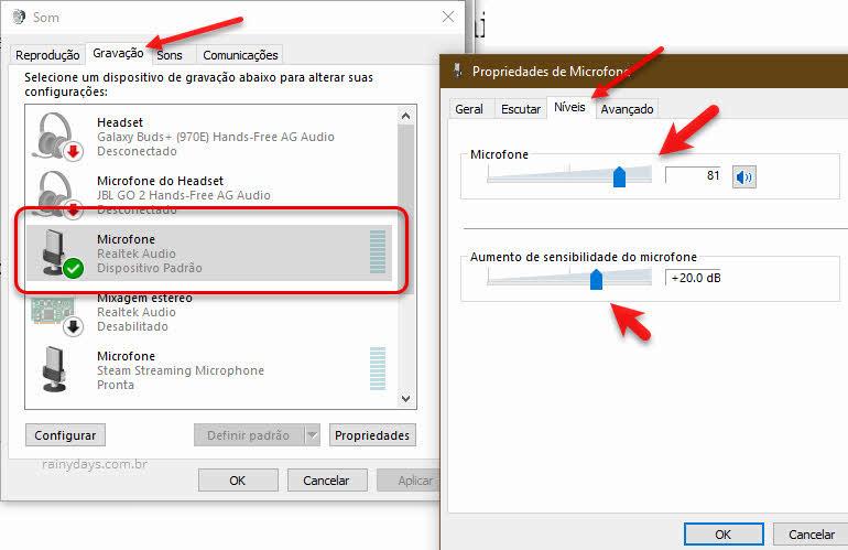 configurações de som, aumentar volume microfone do Windows