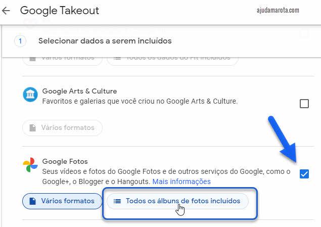 Download de todas fotos do Google Fotos Takeout