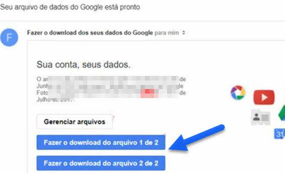 Email download de arquivo exportação Google Takeout