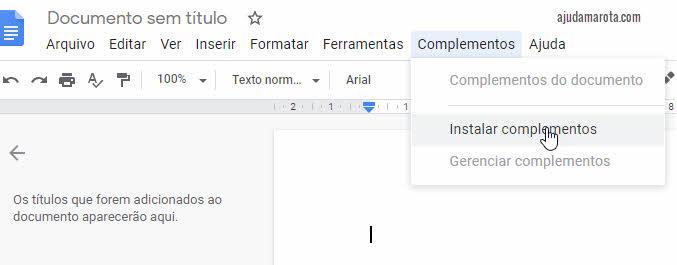 Instalar complementos no Google Docs